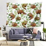Red Panda And Bamboo Leaves Hanging Decoration Tapestries bedspreads,80*60inch,Polyester.