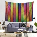 Rainbow Fence Wood Hanging Decoration Tapestries picnic cloths,80*60inch,Polyester.