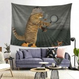 Detective Cat Hanging Decoration Tapestries bedspreads,80*60inch,Polyester.